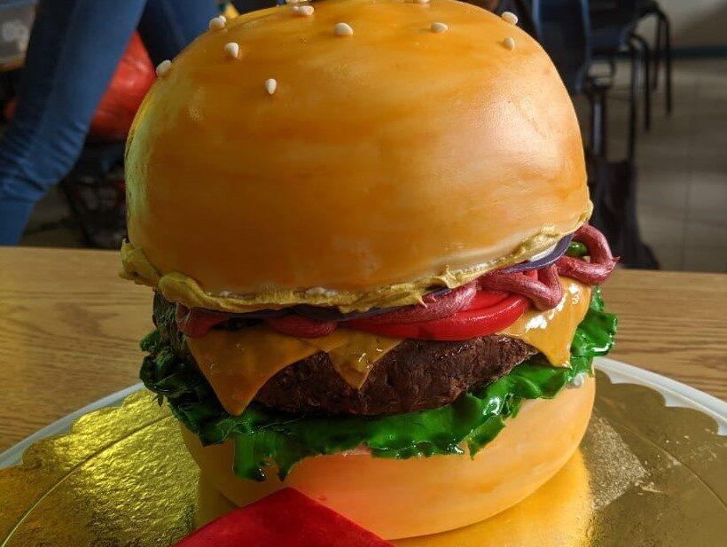 chaitech carved cravings hamburger cake